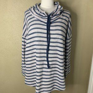 Sunday Women's Stripped Pullover Hoodie White 3X